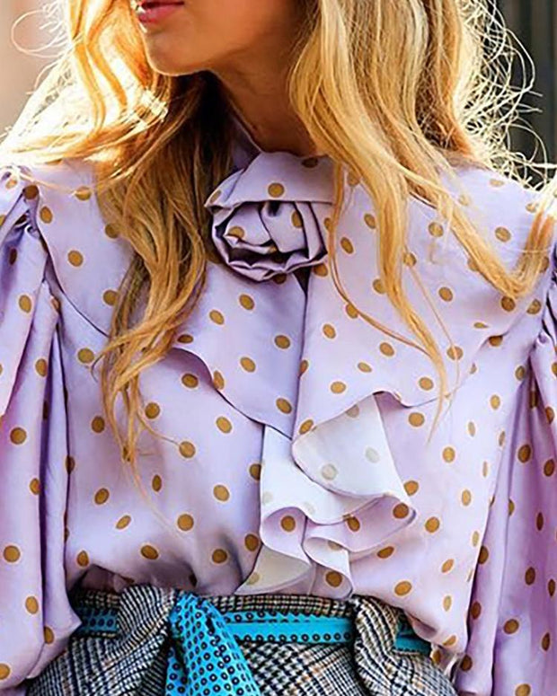 Dot Lantern Sleeve Ruffles Casual Blouse