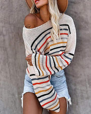 Rainbow Striped Long Sleeve Loose Sweater