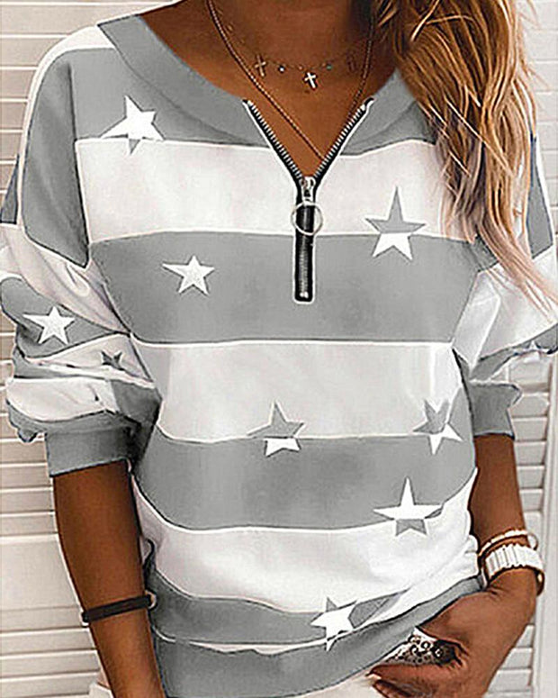 Striped Stars Print Long Sleeve Zipper Sweatshirts