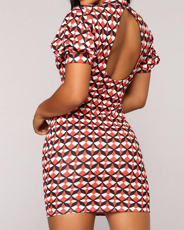 Geometric Print Tied Neck Cutout Back Bodycon Dress