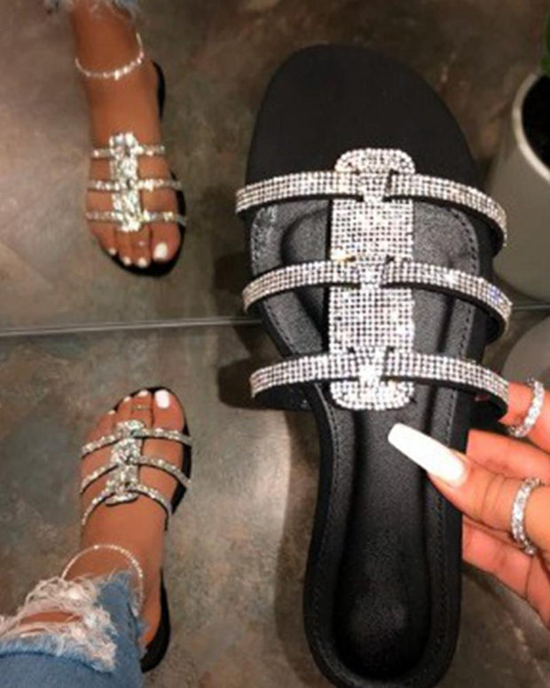 Diamond Embellished Strap Slide Sandals