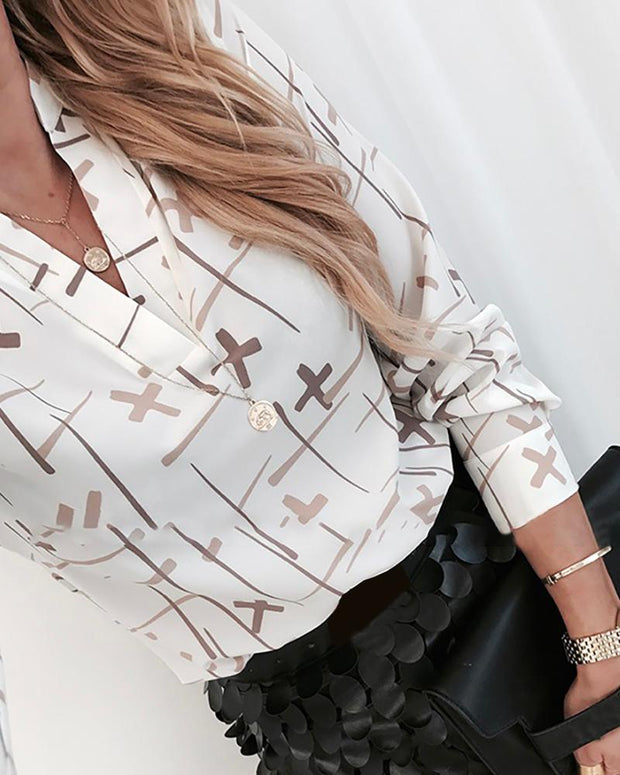 Cross Print Long Sleeve Casual Shirt
