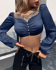 Long Sleeve Button Detail Crop Top