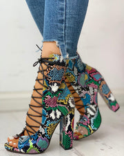 Lace-up Peep Toe Chunky Heeled Sandals