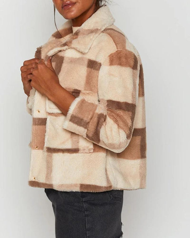 Plaid Long Sleeve Loose Fleece Coats
