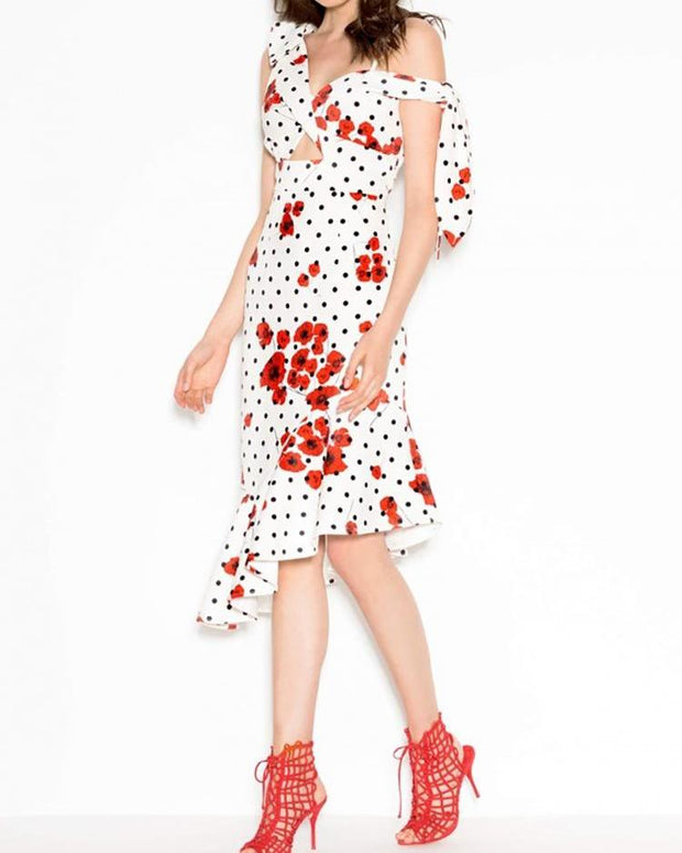 Tie Strap Twist Front Ruffle Hem Floral Dress