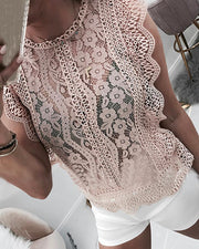 Hollow Out Guipure Lace Casual Blouse