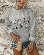 Glue Print Round Neck Sweatshirt