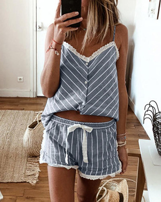 Striped Cami Top & Shorts Lounge Set