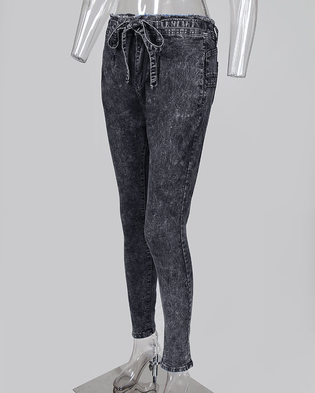 Paperbag Waist Fringe Hem Denim Pants