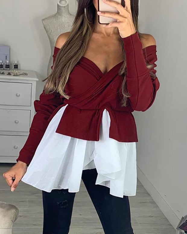 Off Shoulder Batwing Sleeve Colorblock Insert Ruffles Blouse