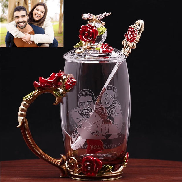 Personalized Handmade Glass Carving Cup