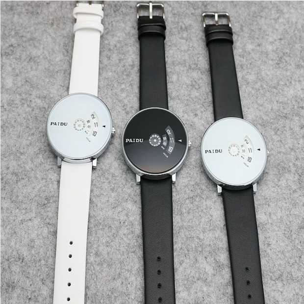 Leather Belt Turntable Fashion Wrist Watch