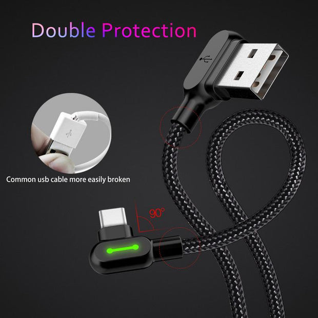 90 Degree Smart High-Tensile Nylon Charging Cable