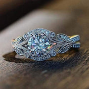 Engagement Ring Vintage Leaf Moissanite Bridal Wedding Jewelry Gifts Size 6 7 8 9 10