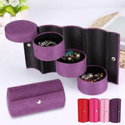 Portable 3 Layers Cylinder Shaped Jewelry Storage Box Organizer for Girls Women Gift