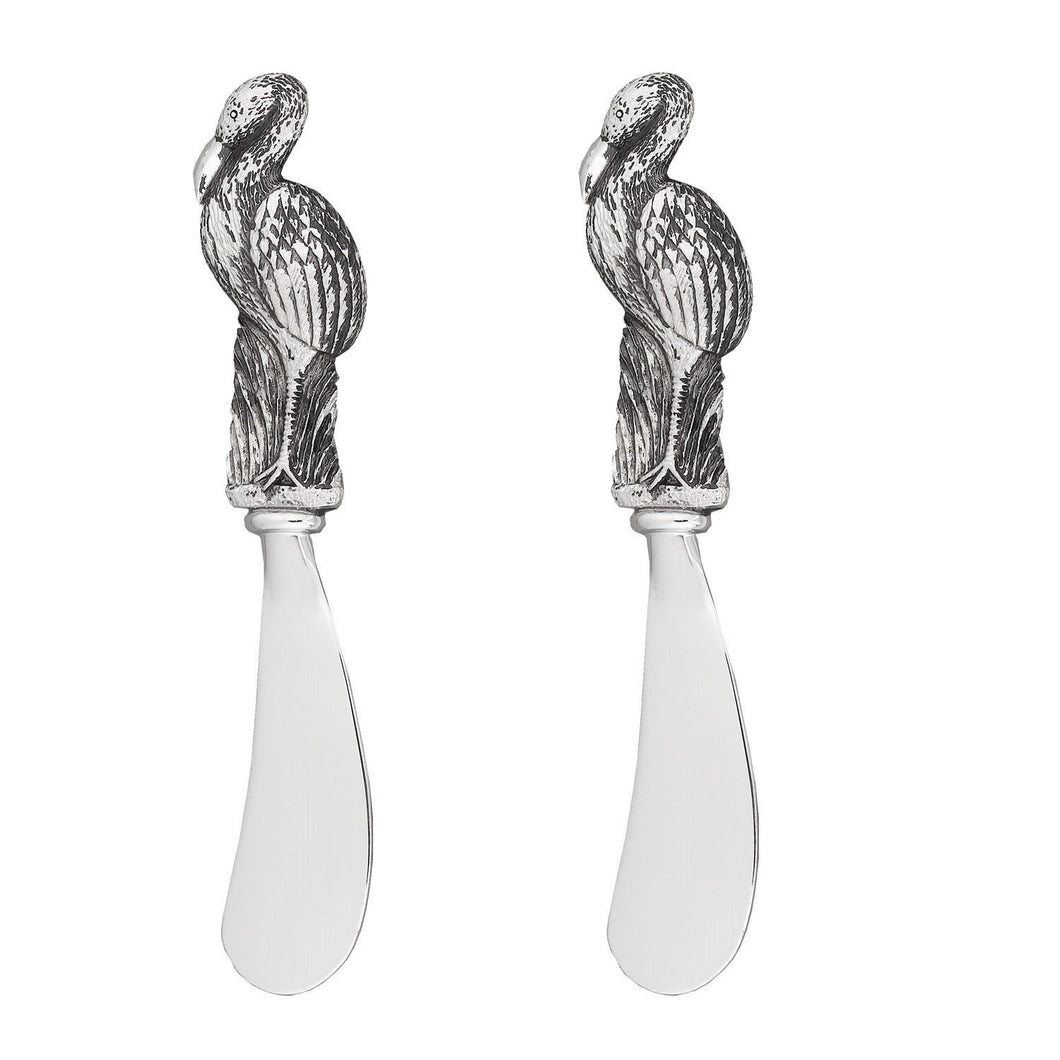 Wine Things 2-Piece Flamingo Zinc Cheese Spreader