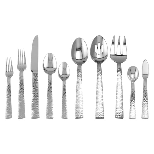 Supreme Stainless Steel 45-Piece Hammered Flatware Set