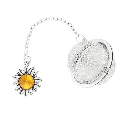 Supreme Stainless Steel Tea Ball Infuser with Crystal Glass Sunflower Charm