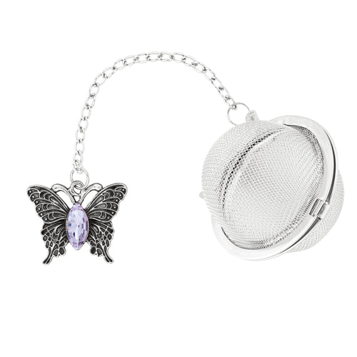 Supreme Stainless Steel Tea Ball Infuser with Crystal Glass Butterfly Charm