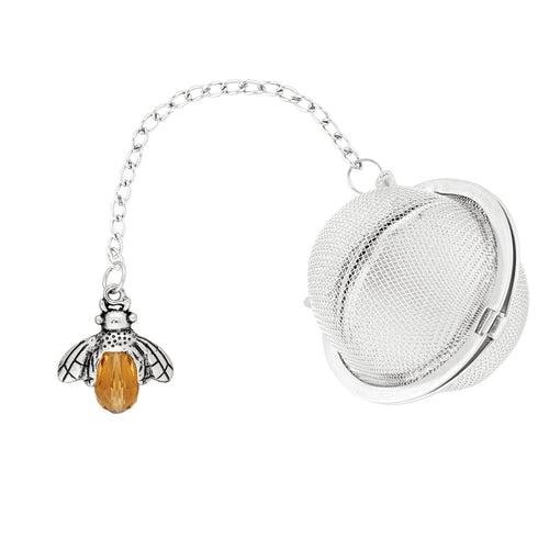 Supreme Stainless Steel Tea Ball Infuser with Crystal Glass Bee Charm