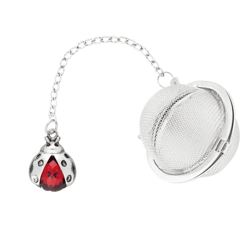 Supreme Stainless Steel Tea Ball Infuser with Crystal Glass Ladybug Charm