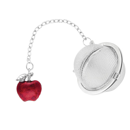 Supreme Stainless Steel Tea Ball Infuser with Enamel Apple Charm