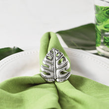 Load image into Gallery viewer, Supreme Zinc 4-Piece Monstera Leaf Napkin Rings