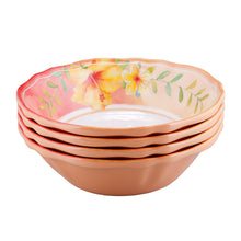 "Load image into Gallery viewer, Gourmet Art 4-Piece Hibiscus Melamine 7"" Bowl"