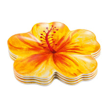 "Load image into Gallery viewer, Gourmet Art 4-Piece Hibiscus Melamine 8 1/2"" Plate"