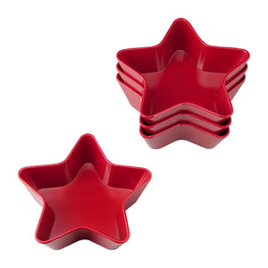 "Gourmet Art 4-Piece Patriotic Star Melamine 5 1/2"" Bowl, Red"