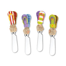 Load image into Gallery viewer, Mr. Spreader 4-Piece Beach Sandals Resin Cheese Spreader, Assorted