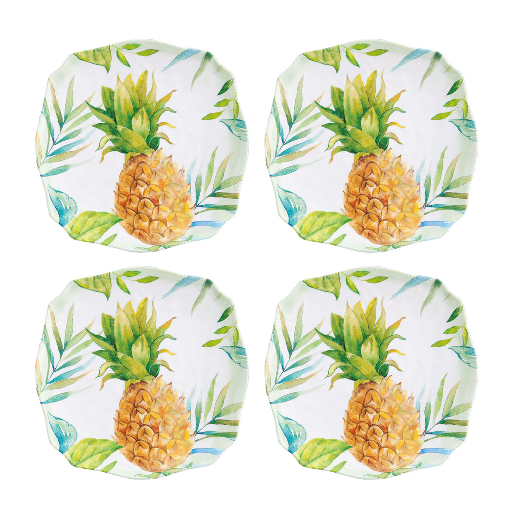 Gourmet Art 4-Piece Pineapple Melamine 6.75