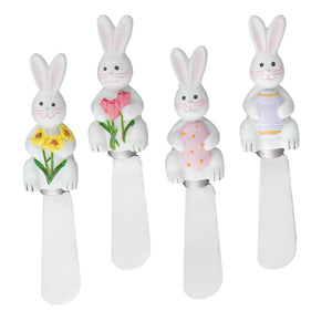 Mr. Spreader 4-Piece Easter Bunny Resin Cheese Spreader, Assorted