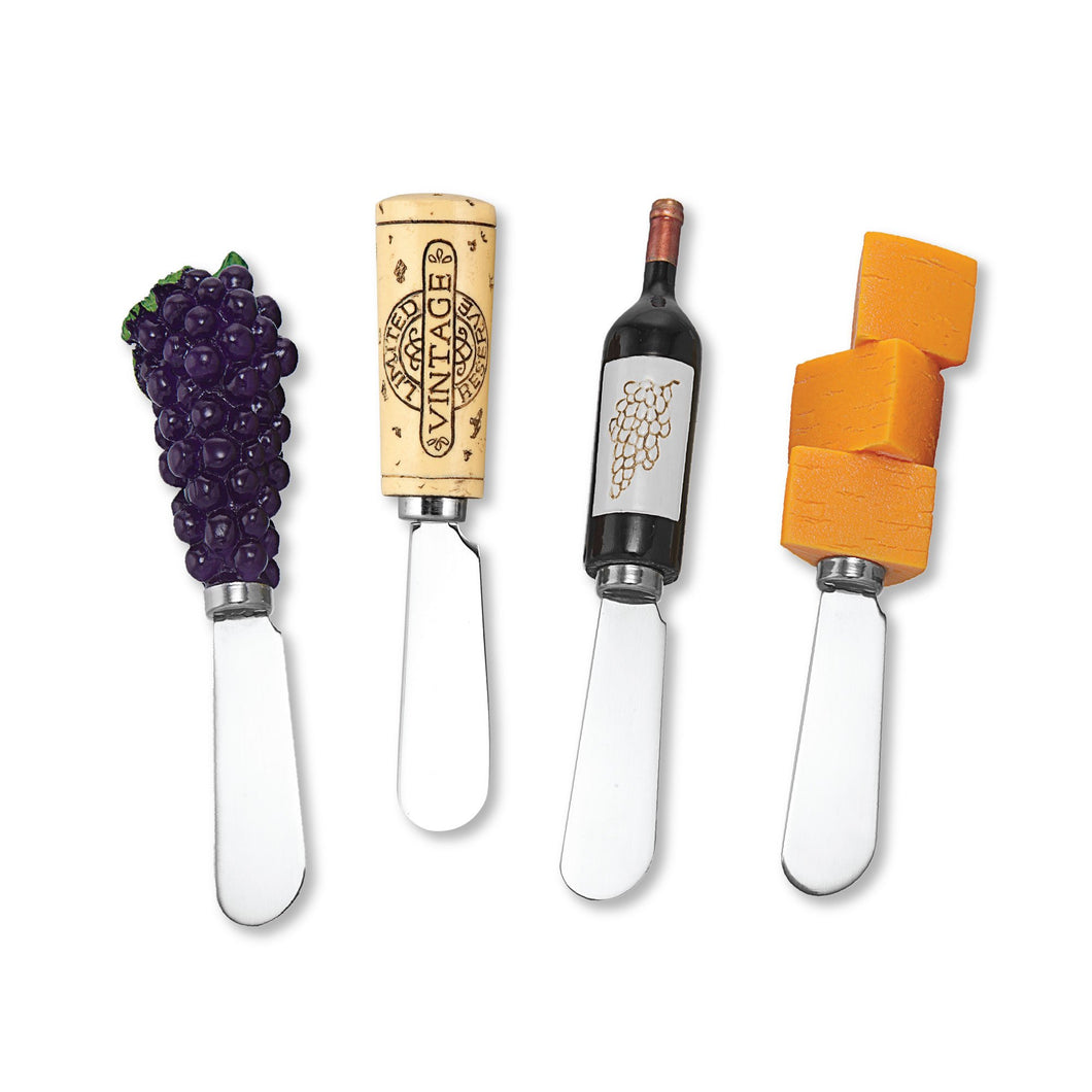 Mr. Spreader 4-Piece Red Wine Tasting Resin Cheese Spreader, Assorted