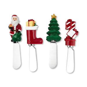 Mr. Spreader 4-Piece Christmas Resin Cheese Spreader, Assorted