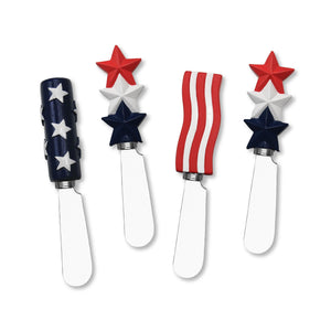 Mr. Spreader 4-Piece American Flag Resin Cheese Spreader, Assorted