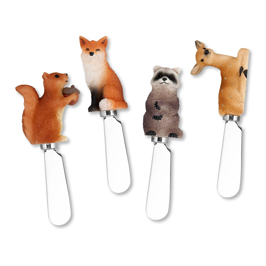 Mr. Spreader 4-Piece Woodland Animals Resin Cheese Spreader, Assorted