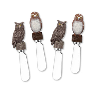 Mr. Spreader 4-Piece Owls Resin Cheese Spreader, Assorted