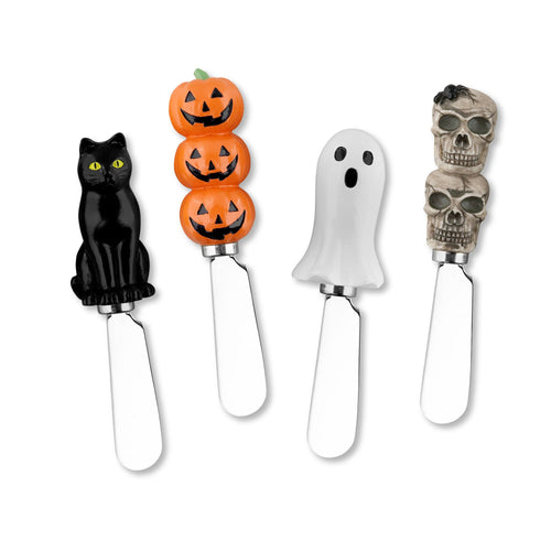 Mr. Spreader 4-Piece Halloween Resin Cheese Spreader, Assorted