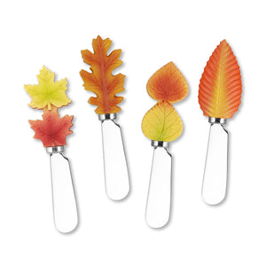 Mr. Spreader 4-Piece Fall Leaves Resin Cheese Spreader, Assorted