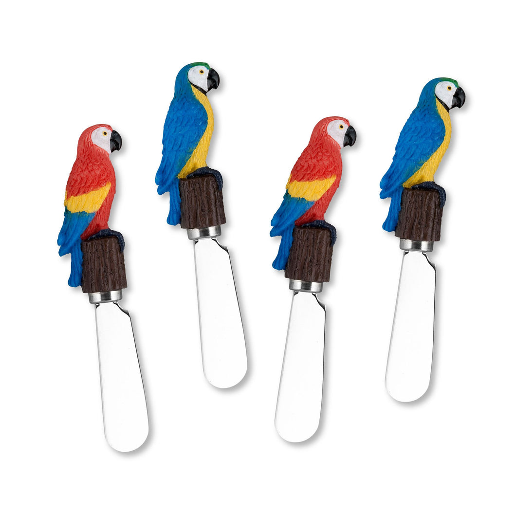 Mr. Spreader 4-Piece Parrots Resin Cheese Spreader