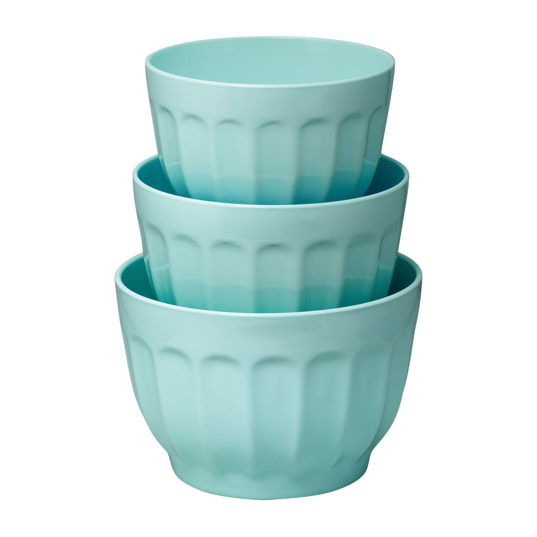 Gourmet Art 3-Piece Latte Melamine Mixing Bowl, Blue