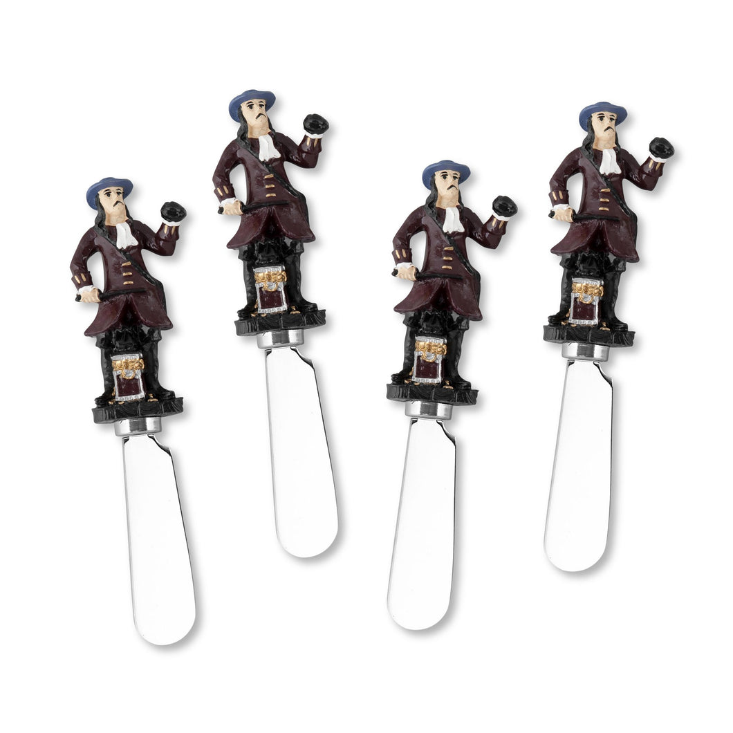 Mr. Spreader 4-Piece Red Coat Pirate Resin Cheese Spreader