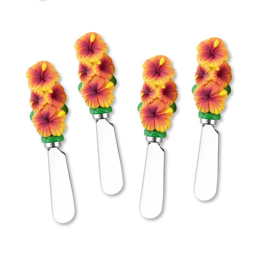Mr. Spreader 4-Piece Hibiscus Resin Cheese Spreader
