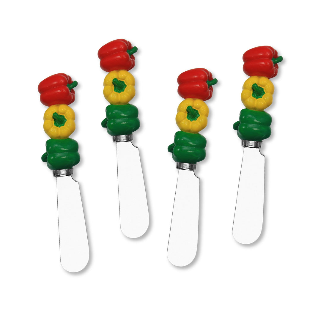 Mr. Spreader 4-Piece Bell Pepper Resin Cheese Spreader (New)