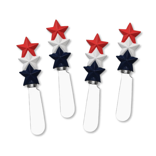 Mr. Spreader 4-Piece Patriotic 3 Stars Resin Cheese Spreader
