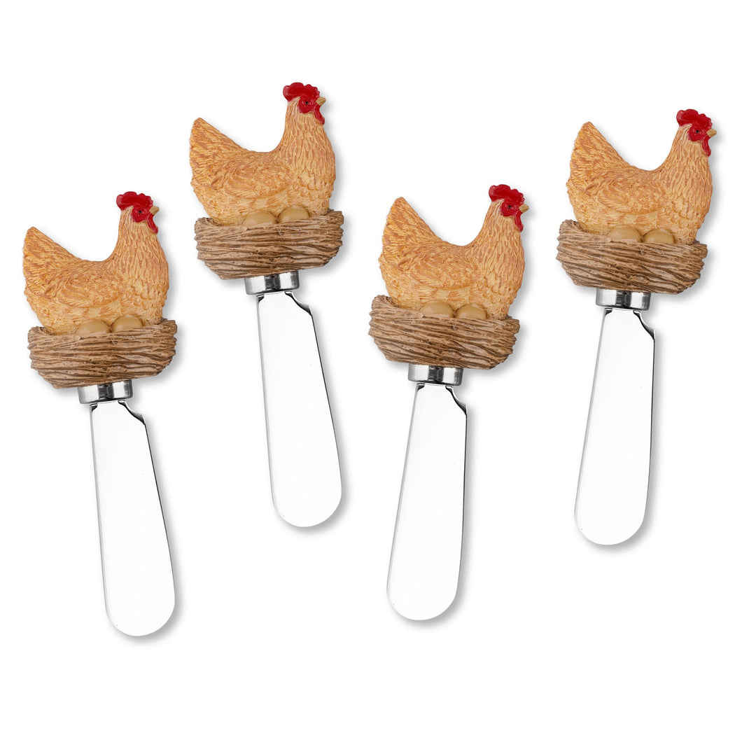 Mr. Spreader 4-Piece Hen Resin Cheese Spreader
