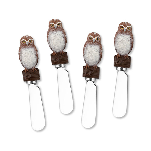 Mr. Spreader 4-Piece Burrowing Owl Resin Cheese Spreader