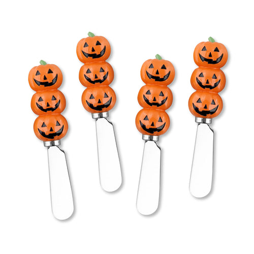 Mr. Spreader 4-Piece Halloween Pumpkin Raisin Cheese Spreader